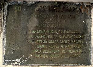 Photo: Teks pintu masuk Makam Raja Gowa ke 11, I-Tajibarani Daeng Marompa Karaeng Data (1565).