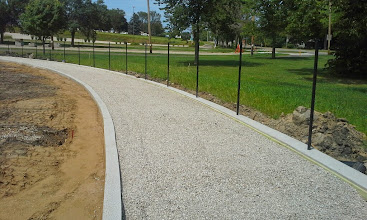 """Photo: 3/4"""" Clear Stone installed in warning track 08-06-2014"""