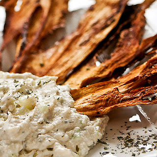 Eggplant Chips with Cucumber Dip.