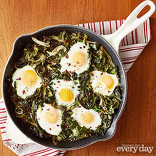 Sunnyside Eggs with Cheesy Winter Greens