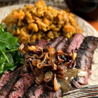 Steak au Poivre with Crispy Shallots
