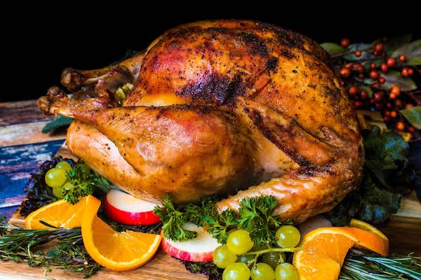 Turkey Roasted In A Roasting Bag On A Platter.