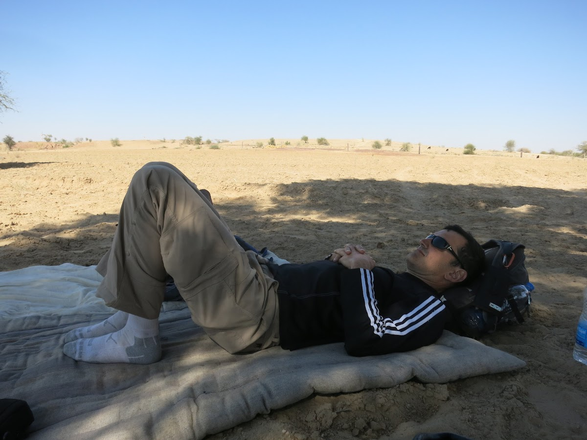 India. Rajasthan Thar Desert Camel Trek. Lunch break - human version