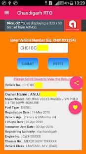 Chandigarh Vehicle Registration Details screenshot