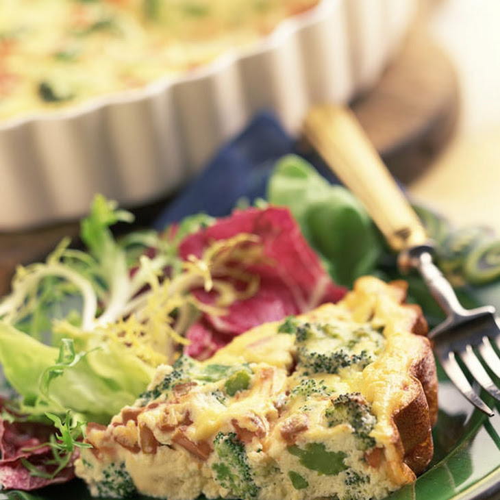 Broccoli, Potato & Bacon Egg Pie with Cheddar