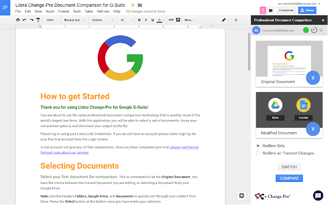 Litera Change Pro Document Comparison Google Docs Add On