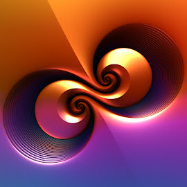 Double Barrel by Lyle Hatch - Illustration Abstract & Patterns ( ombre, orange, spirals, purple, 3d, mandelbulb 3d, 3-d, curls, swirls, fractal, curves, three dimensional, gradient )