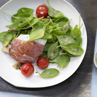Spinach Salad with Prosciutto-Wrapped Perch