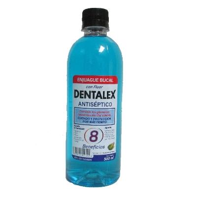 enjuague bucal dentalex azu con alcohol 500ml
