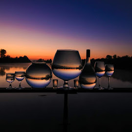 Ballanced by Stefan Klein - Artistic Objects Still Life ( glasses, sunrise, nature, still life, river,  )