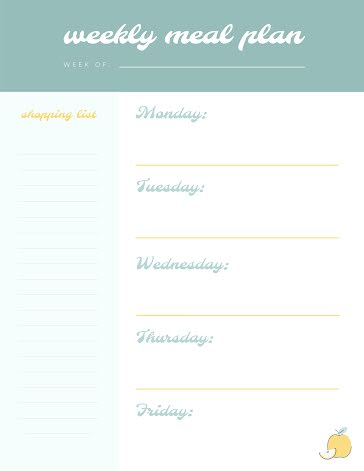Weekly Meal Plan - Planner Template