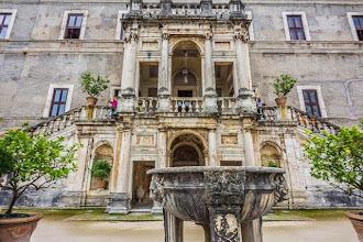 Photo: The facade of Villa d'Este in Tivoli, Lazio, Italy as seen from the top level of the gardens