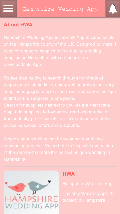 Hampshire Wedding App- screenshot