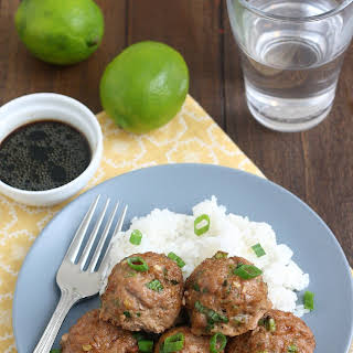 Asian Turkey Meatballs With Lime Sesame Dipping Sauce.