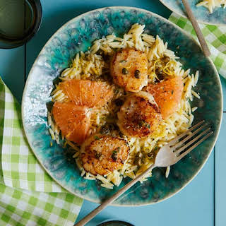 Browned Butter Seared Scallops Over Lemon Orzo.