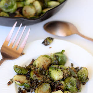Double Crisped Brussels Sprouts with Lemon, Caper and Garlic.