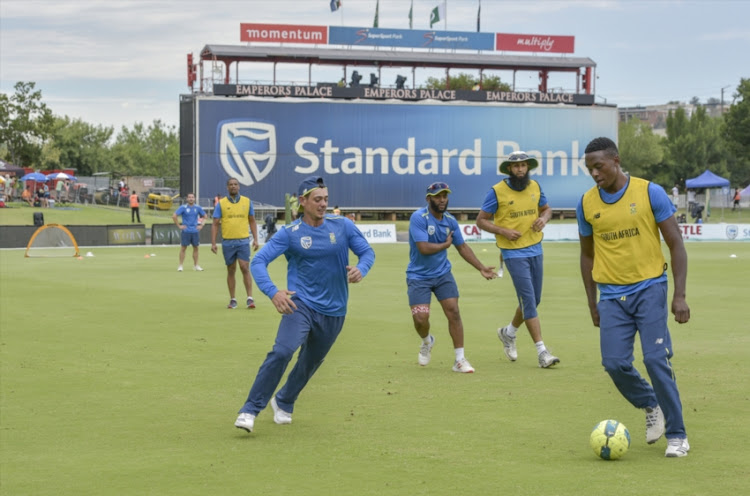 General view of players warming up before the start of day 3 of the 1st Castle Lager Test match between South Africa and Pakistan at SuperSport Park on December 28, 2018 in Pretoria, South Africa.