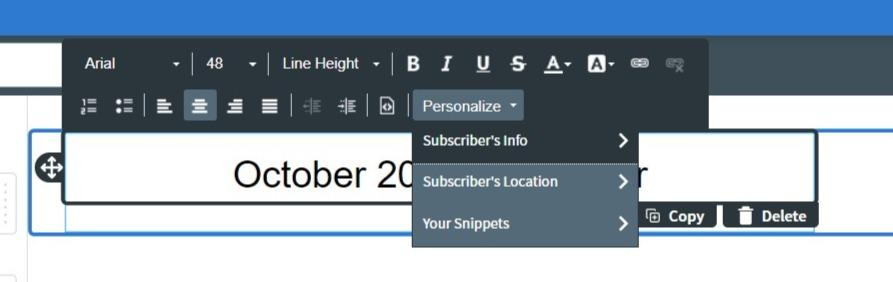 personalize your email in the editor