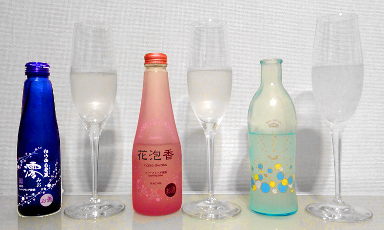 sparkling sake sparkling nihonshu alochol you can find in convenience stores in Japan