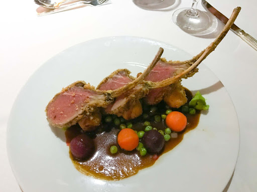 Roasted rack of lamb, aka lamb lollipops, at Stella Bistro on Wind Surf, whose kitchens are overseen by executive chef Eddie Barretto.