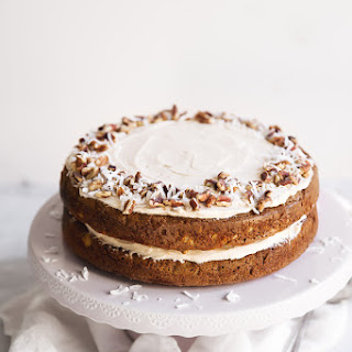 Lightened-Up Gluten Free Carrot Cake with Cinnamon Cream Cheese Frosting