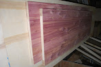 Photo: These are going to be a customer custom closet doors, skinned in aromatic red cedar. Customer received and was thrilled with finished product and even ordered more to finish out another section of his room