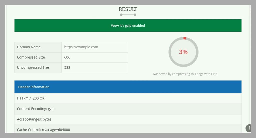 page speed test result