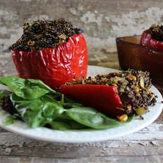 Moroccan Quinoa Stuffed Red Peppers
