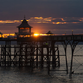Clevedon Pier Sunset by Andro Andrejevic - Landscapes Sunsets & Sunrises ( water, uk, somerset, north somerset, sunset, pier,  )