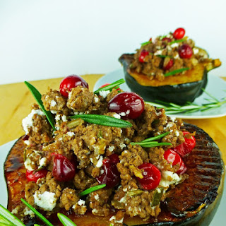 Cranberry Beef Stuffed Acorn Squash with Goat Cheese, Rosemary & Thyme