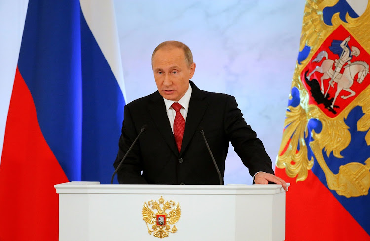 Russian President Vladimir Putin delivers a speech at the Kremlin in Moscow, Russia, on Thursday. Picture: REUTERS/Maxim Shemetov