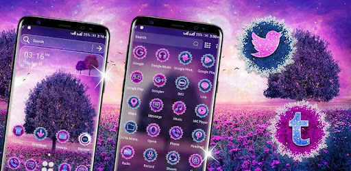 Personalized your home screen with Purple Tree Flowers Theme icon packs