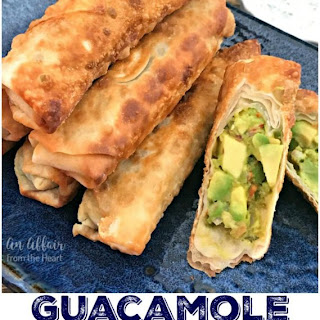 Guacamole Egg Rolls with Spicy Cilantro Ranch Dipping Sauce.