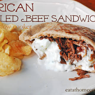African Pulled Beef Sandwiches in the Slow Cooker with Yogurt-Mint Sauce.