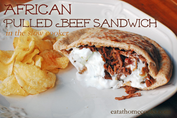 African Pulled Beef Sandwiches in the Slow Cooker with Yogurt-Mint Sauce Recipe