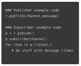 examine some standard redis-py publish and subscriber code blocks