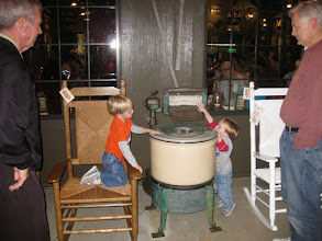 Photo: Day 5 - Interestingly, one of the favorite memories of the trip for our boys was playing with the antique washing machine in front of Cracker Barrel. Thankfully the engineer grand-dads were able to explain how it worked to them