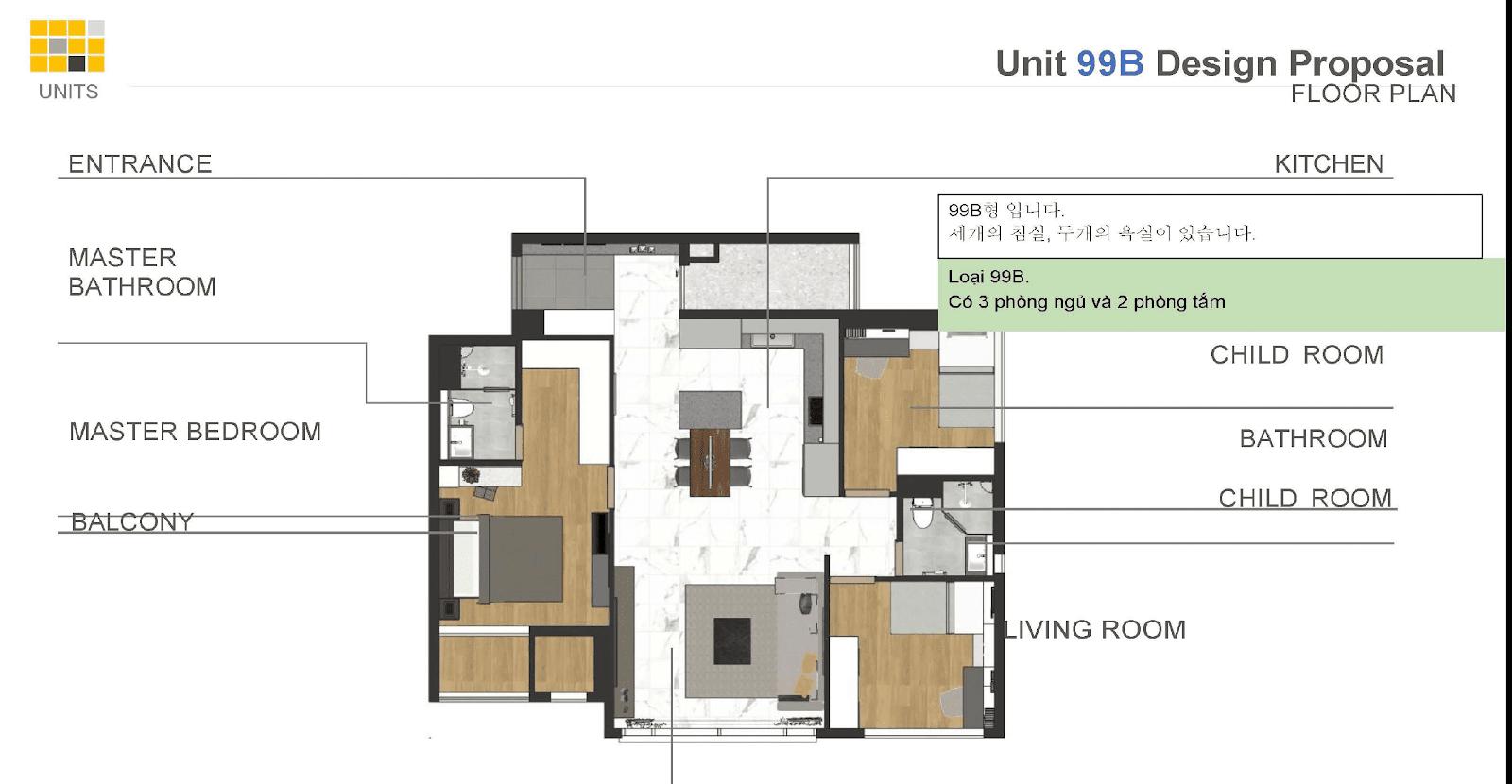 Mặt bằng thiết kế căn hộ 3PN