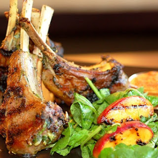 Grilled Lamb Chops with Harissa and Grilled Peach and Arugula Salad