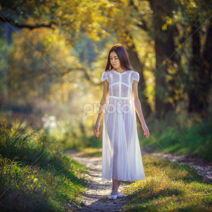 Autumn by Dmitry Laudin - People Fashion ( silhouette, white, fun, lightness, girl, nature, tale, autumn, dress, air, transparent, dance, light )