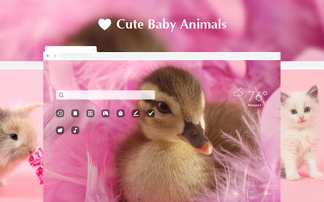 Cute Baby Animals HD Wallpaper New Tab Theme