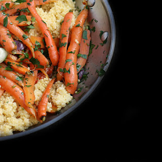 Recipe for Spring Carrot Sauté with olives, garlic, and millet.