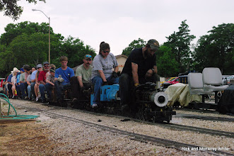 Photo: Ken Rhodes on Roy Tomlin's 2-6-2, Kari Wirth on Simpson 2-6-0, Roy Tomlin, and Nick Hitzfelder.  HALS-SLWS 2009-0523