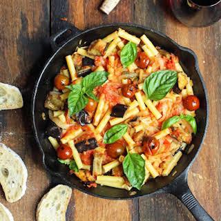 Roasted Eggplant, Caramelized Onions & Marinara Pasta.
