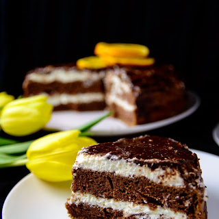 Chocolate Cake with Cottage Cheese Filling.