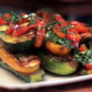 Zucchini Steaks with Red Bell Pepper Chimichurri