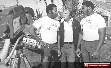 Photo: Dewey, Lee Roy and Coach Switzer prior to the 1976 Orange Bowl.