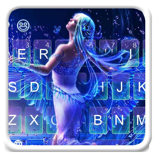 Neon Blue Angle Keyboard Theme