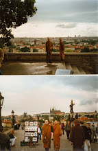 Photo: Ajahn Sumedho and Ajahn Jutindharo walking on Charles bridge with Prague castle in the background
