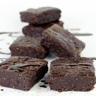 Raw Dark Chocolate Fudge Brownies.